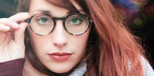 beautiful woman with tortoise glasses