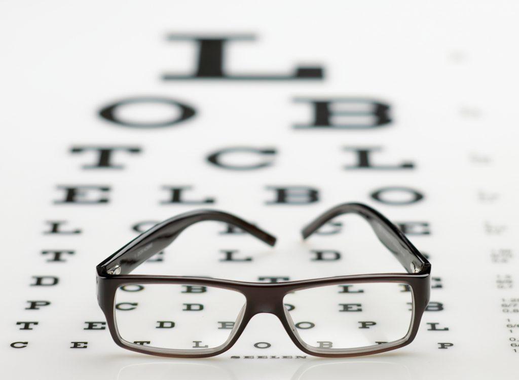 teste de visão, óculos