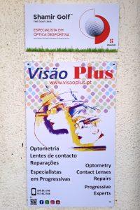 Cartaz Visão Plus - Vilamoura Optometria, lentes de contacto, reparações, especialistas em progressivas. Ponto de venda de marca Shamir especialista em lentes desportivas